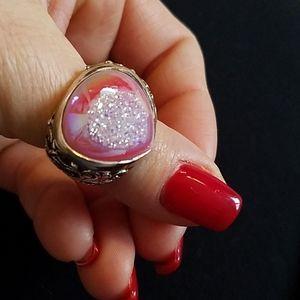Vintage pink Druzy ring